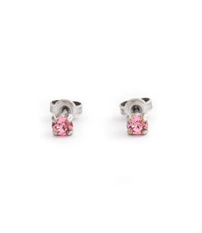Krikor Zilveren oorknopjes met 4 mm licht roze kristal