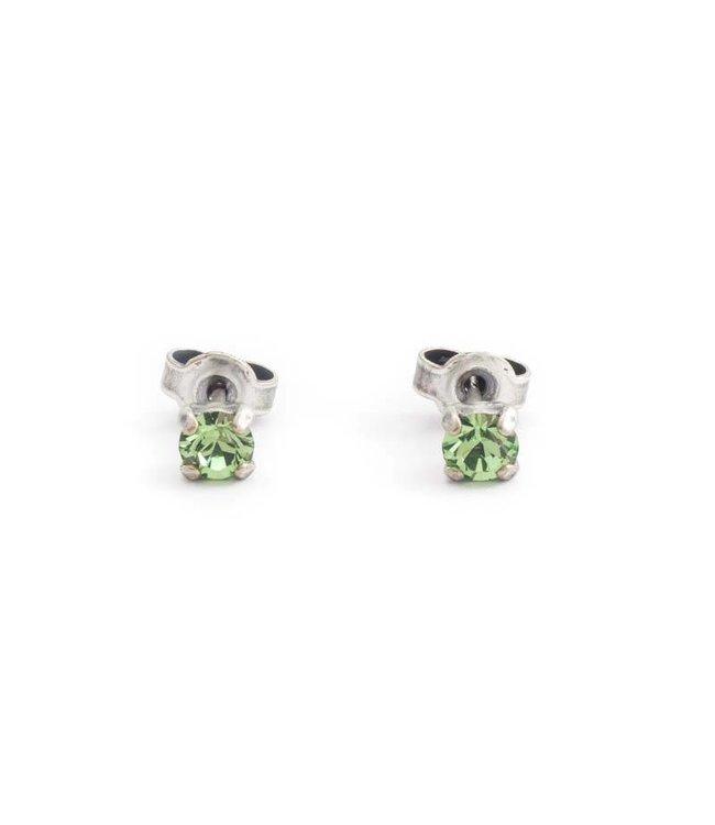 Krikor Zilveren oorknopjes met 4 mm peridot groen kristal