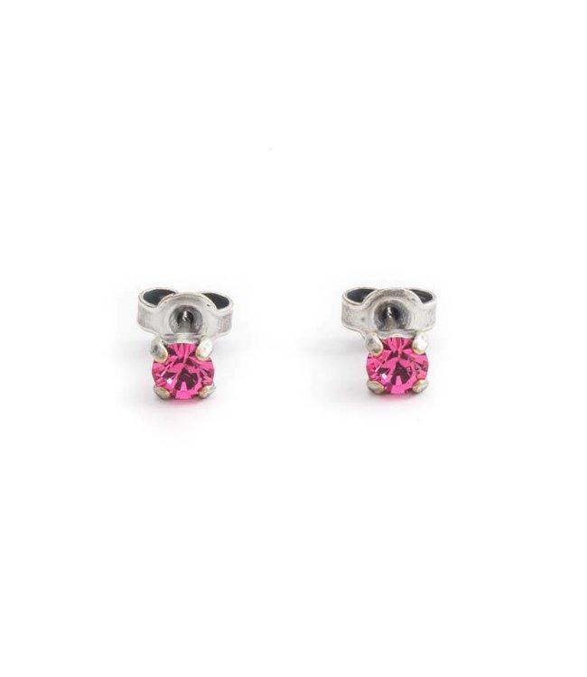 Krikor Zilveren oorknopjes met 4 mm roze kristal