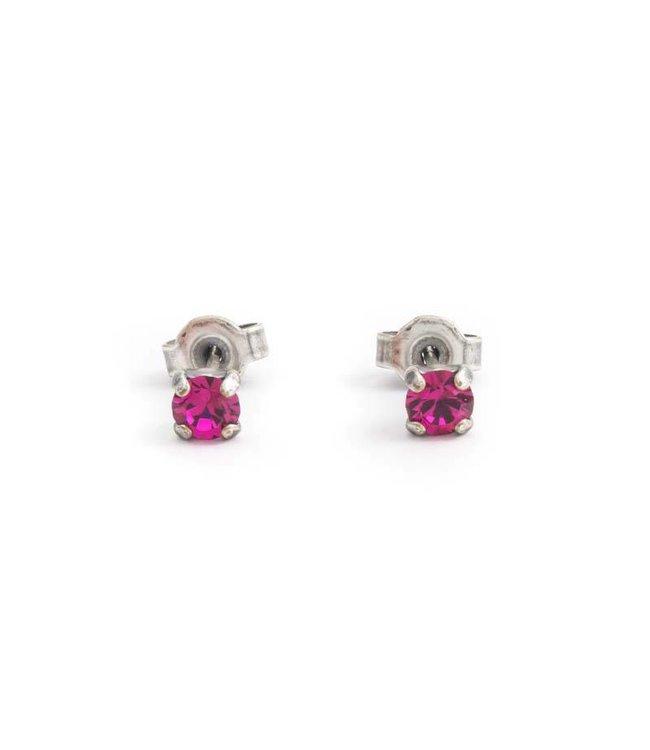 Krikor Zilveren oorknopjes met 4 mm fuchsia roze kristal