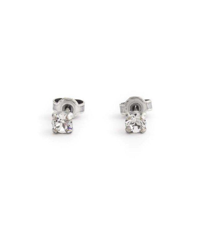 Krikor Zilveren oorknopjes met 4 mm helder kristal