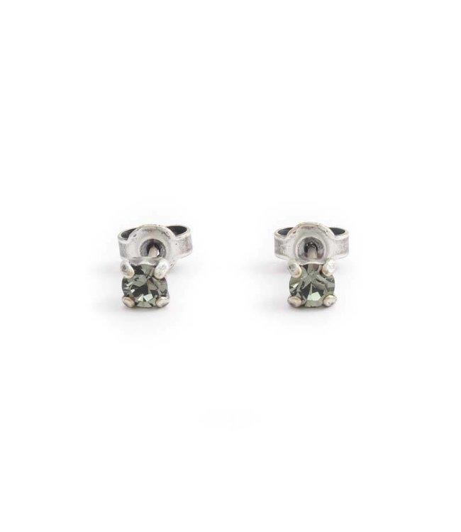 Krikor Zilveren oorknopjes met 4 mm donker grijs kristal