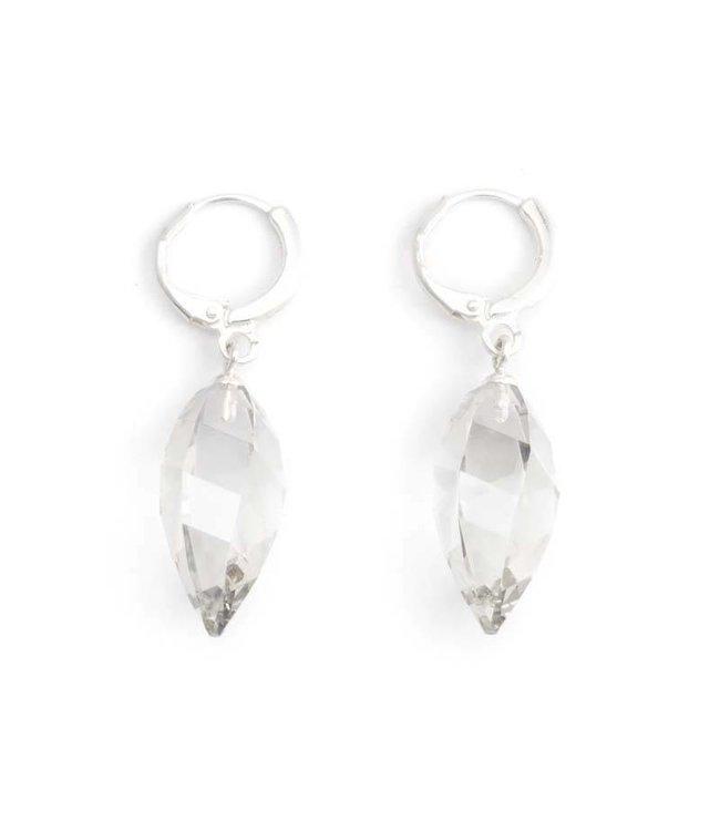 Krikor Creool oorbellen met silver shade Swarovski kristal