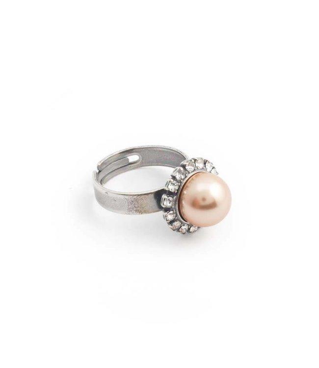 Krikor Goud roze parel ring met 10 mm parel en kristal