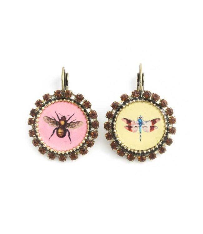 Iris Gele en roze oorbellen met insecten