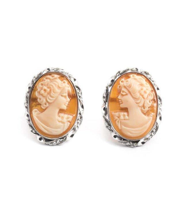 Mario Scognamiglio Ovale camee oorbellen in zilver met dame
