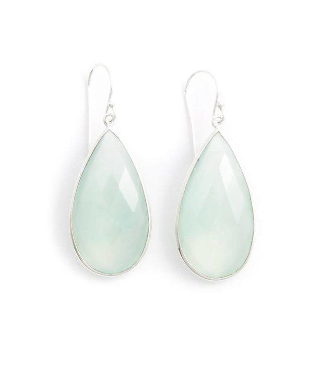 De Vogue Aqua blauwe oorbellen met chalcedoon