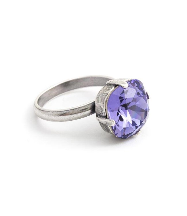 Krikor Paarse ring met 12 mm Swarovski kristal