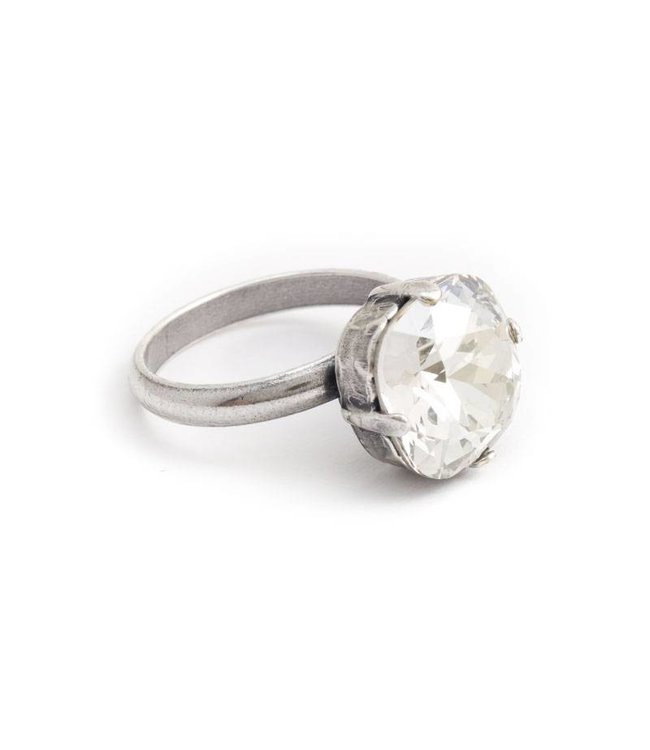 Krikor Licht grijze ring met 12 mm Swarovski kristal