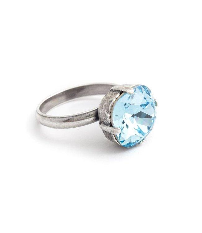 Krikor Blauwe ring met 12 mm Swarovski kristal