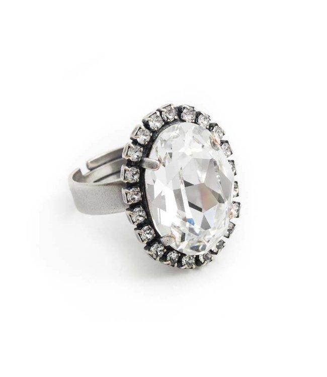 Krikor Ovale ring met helder Swarovski kristal