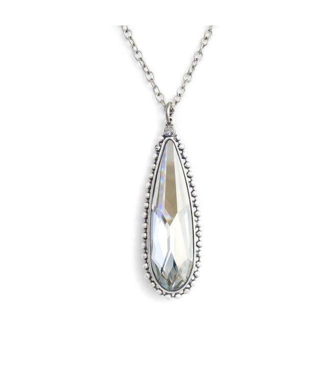 Krikor Lange kettinghanger kristal in Blue Shade