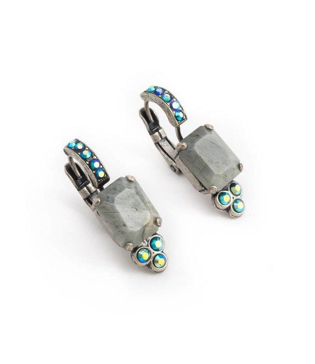 Mariana Groene oorbellen met steen en kristal