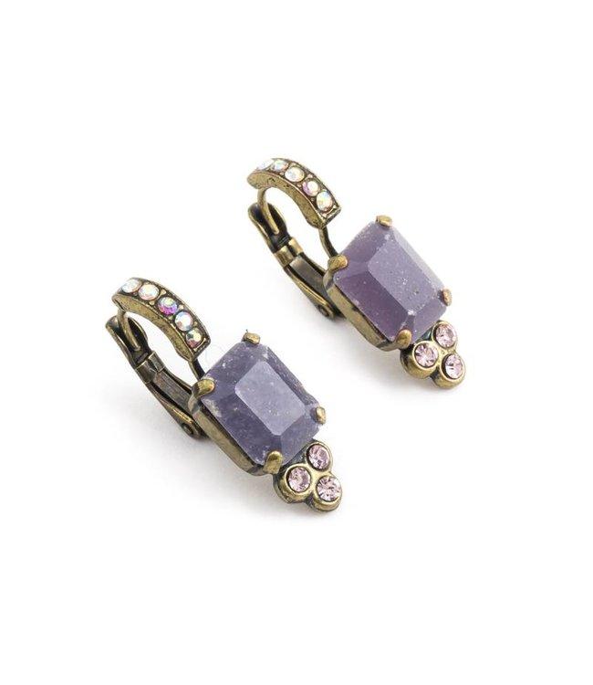 Mariana Paarse oorbellen met steen en kristallen