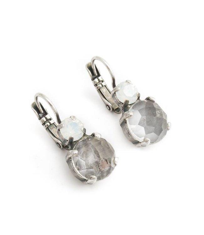 Mariana Grijs witte oorbellen met kwarts en kristal