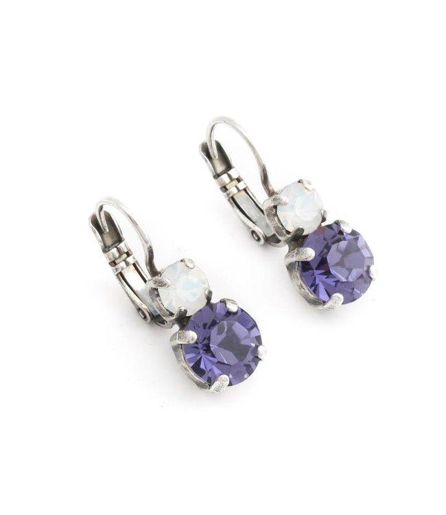 Mariana Wit paarse oorbellen met Swarovski kristal