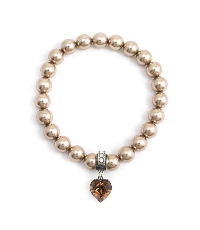 Krikor Licht bruine parel armband met kristal bedel hartje