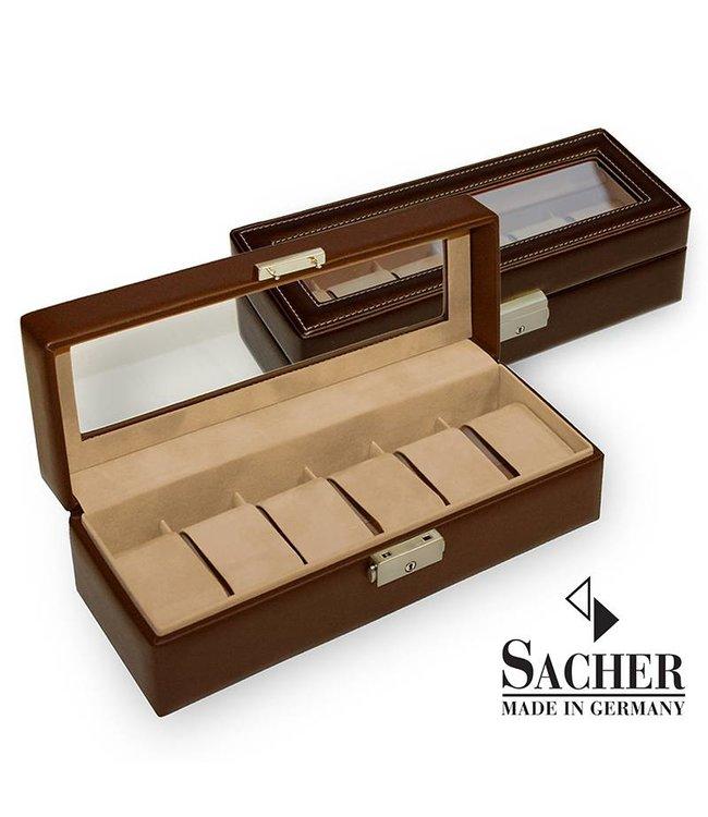 Sacher Horlogedoos mocca bruin voor 6 horloges met venster