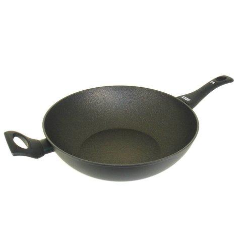 Wokpan - met anti-aanbak coating - Ø 32 cm - Best Getest! - mat zwart - Virtus - met de beste robuuste anti-kleef coating