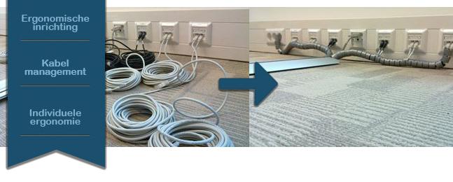 Kabelmanagement op werkplekken toegepast
