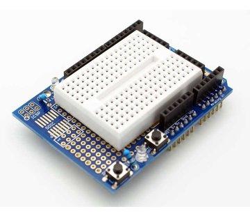 Prototype shield Arduino uno met mini breadboard