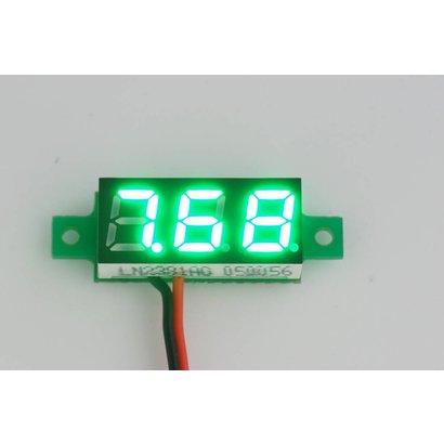 "Mini Volt Meter GReen, 2 Wires 3 to 30 Volt DC 0.28"""
