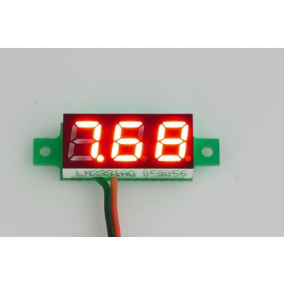 Mini Voltage Meter Red 2 Wire 0.28""