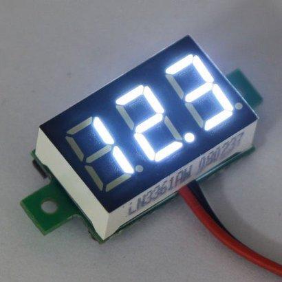 """Mini Voltage Meter White 2 Wire 0.36"""""""