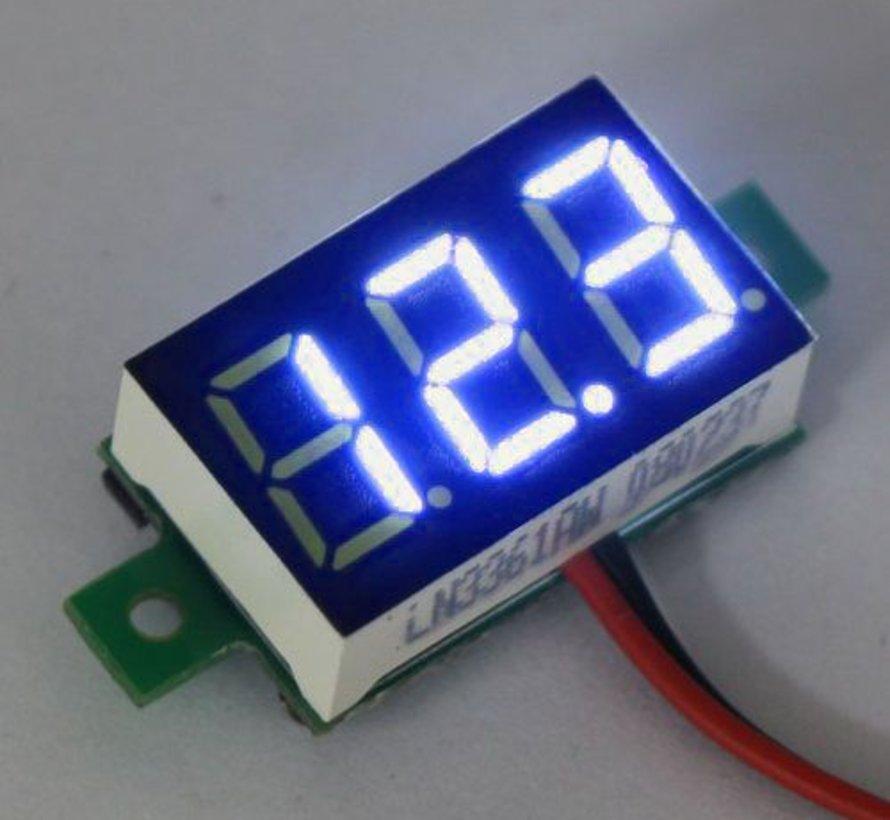 """Mini Volt Meter Blue 3 to 30 Volt DC 0.36"""""""