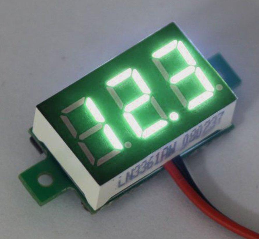 """Mini Volt Meter Green 3 to 30 Volt DC 0.36"""""""