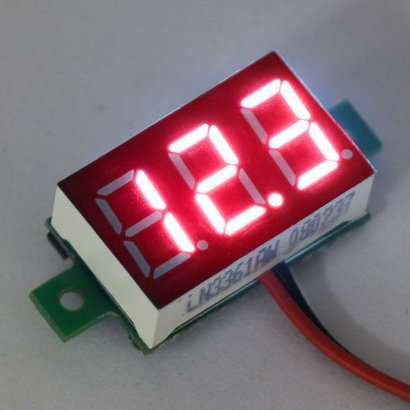 Mini Volt Meter Red 3 to 30 Volt DC 0.36""