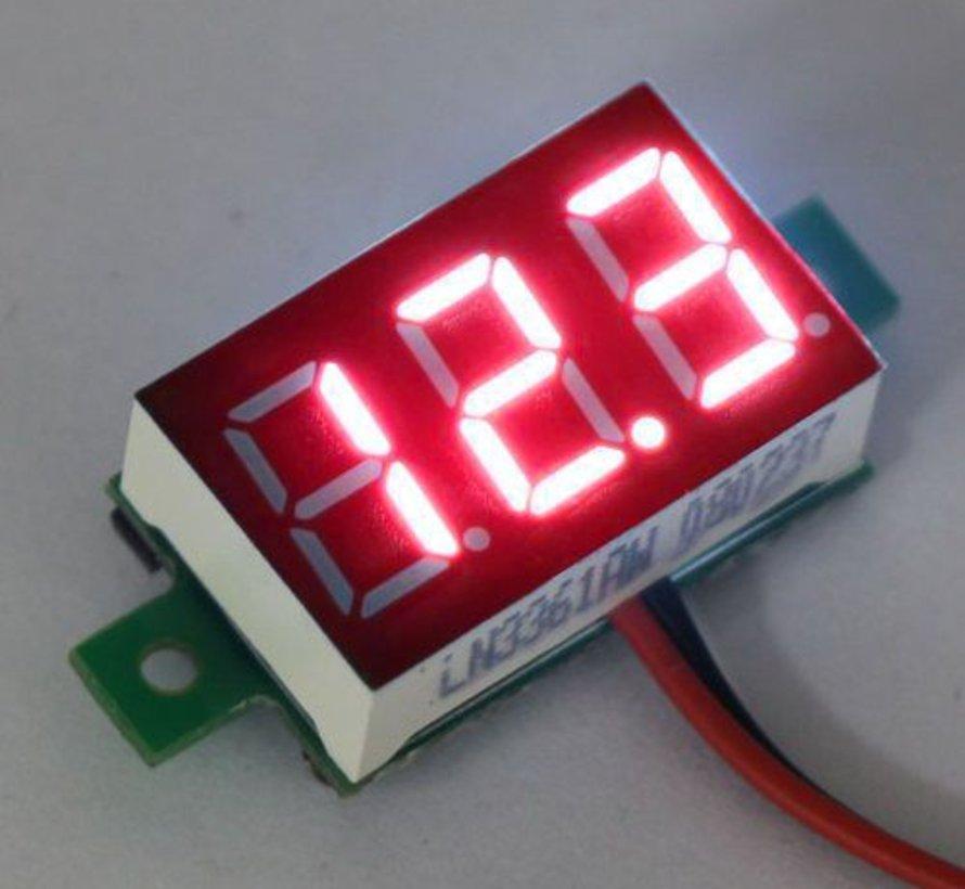 "Mini Voltmeter Rood 3 t/m 30 Volt DC 0.36"""
