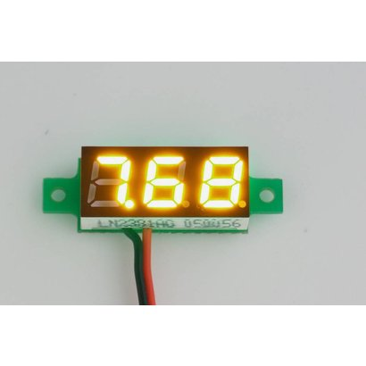 Mini Volt Meter Yellow, 2 Wires 3 to 30 Volt DC 0.28""