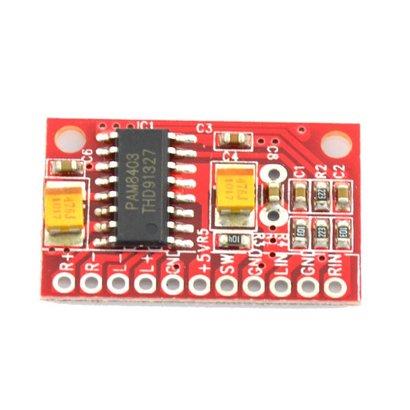 Mini Amplifier Module 2 x 3 Watt PAM8403. Red, Small