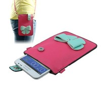 Kleurrijke leren Samsung Galaxy Note 2 / 3 bagcase, roze/lichtblauw