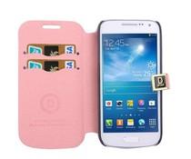 Knalroze leren Samsung Galaxy S4 mini horizontale flipcase met ruimte voor pasjes
