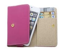 Knalroze leren Apple Iphone 5 horizontale flipcase met creditcard gleuven