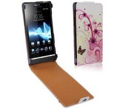 Kleurrijke leren Sony Xperia S flipcover met bloemenmotief, roze/wit