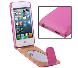 Extra dunne leren Apple Iphone 5 flipcover met spiegel, roze