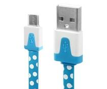 Polka dot Micro USB naar USB kabel, 1 meter, blauw/wit