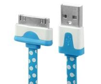 Polka dot 30 pin naar USB kabel, 1 meter, blauw/wit