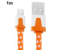 Polka dot 8 pin lightning naar USB kabel, 1 meter, oranje/wit