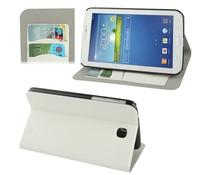 Wit PU leren Galaxy Tab 3 (7 inch) tablet hoes met ruimte voor pasjes