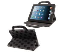 Polka dot Apple Ipad case met handvat, grijs/zwart