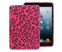 Knalroze buigzame back cover voor je Ipad mini met luipaardprint