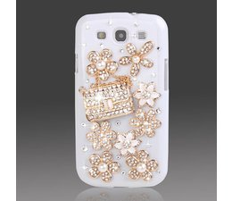 Bling en bloemetjes! telefoonhoesje voor HTC One (M7)