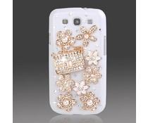 Bling en bloemetjes! telefoonhoesje voor Samsung Galaxy S3 mini