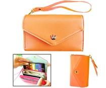 Modieuze portemonnee telefoon hoes, oranje