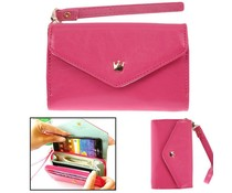 Modieuze portemonnee telefoon hoes, donker roze