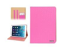 Chique geweven PU leren hoes voor Apple iPad Air, roze